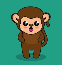 cute monkey style kawaii vector image