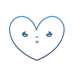 Degraded line kawaii cute heart facial expression vector
