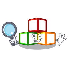 Detective toy blocks cube blank cartoon wooden vector