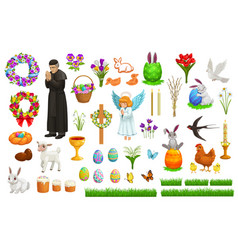 easter holiday characters and symbols vector image