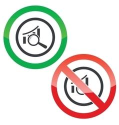 Examine bar graphic permission signs vector
