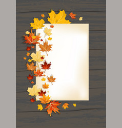 Fall leaves on dark background and card vector