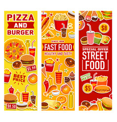 Fast food burgers snacks and drinks vector