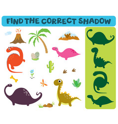find correct shadow adorable dinosaurs vector image