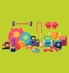 fitness equipment set colorful glossy gym workout vector image