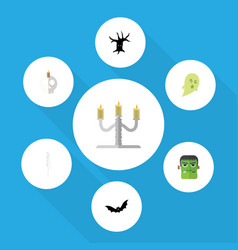 flat icon festival set of candlestick cranium vector image