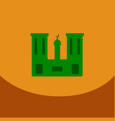 Flat icon on orange square arabic mosque with the vector
