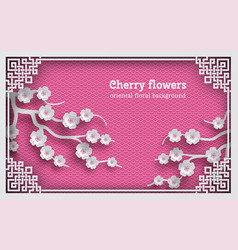 floral pink oriental pattern background with vector image