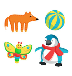 Fox and butterfly toy set vector