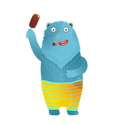 funny bear with ice cream smiling wearing shorts vector image