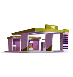 Gas station with oil pump and market vector