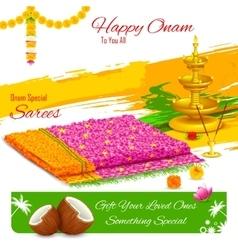 Gift of saree in happy onam vector
