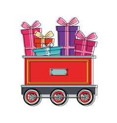 gifts on train carriage vector image