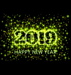 gold neon green typography happy new year 2019 in vector image