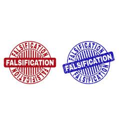 Grunge falsification textured round stamps vector