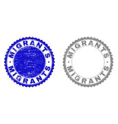 Grunge migrants scratched stamps vector
