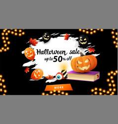 halloween sale up to 50 off dark discount banner vector image
