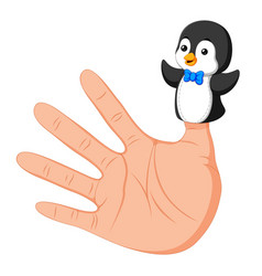 hand wearing a cute penguin finger puppet on thumb vector image
