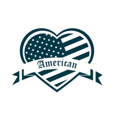 Happy independence day american flag shaped heart vector