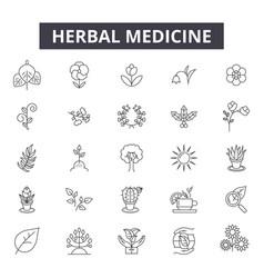 herbal medicine line icons signs set vector image