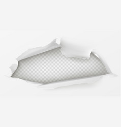 Hole in white paper sheet 3d realistic vector