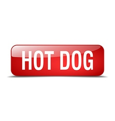 Hot dog red square 3d realistic isolated web vector