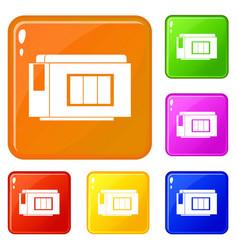 Inkjet printer cartridge icons set color vector