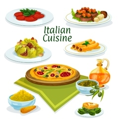 Italian cuisine dishes icon for menu design vector