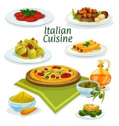 Italian cuisine dishes icon for menu design vector image