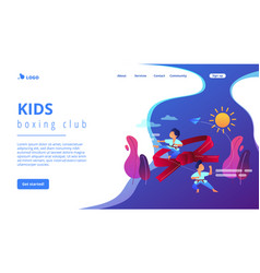 Karate camp concept landing page vector