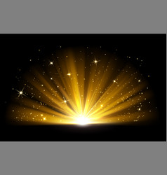 Light effect shining golden bright light vector