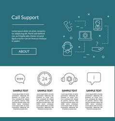 line call support center icons landing page vector image