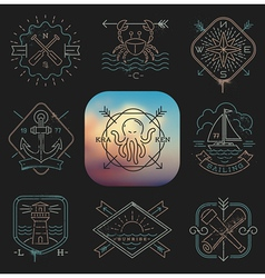 Line drawing Nautical and adventures emblems vector image