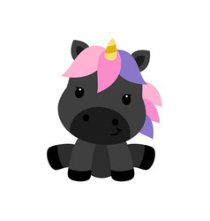 Little black unicorn isolated on white background vector