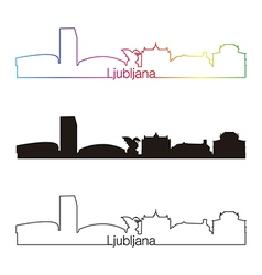 Ljubljana skyline linear style with rainbow vector image