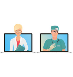 male and female doctor with online medical vector image