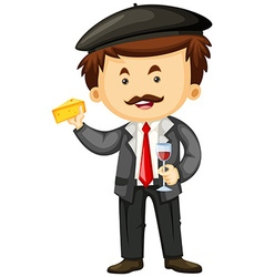 Man holding cheese and glass of wine vector