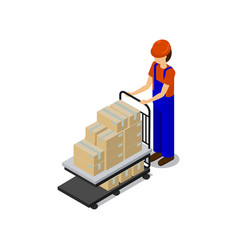 Man in special equipment transporting products vector