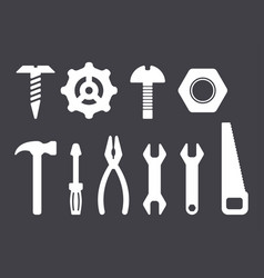 manual tools and instruments set white isolated vector image