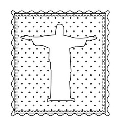 Monochrome contour frame of christ redeemer with vector