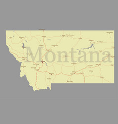 Montana accurate exact detailed state map vector