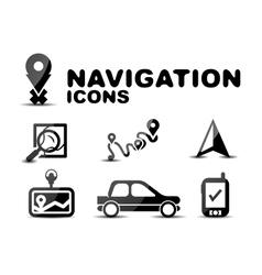 Navigation glossy black icon set vector image
