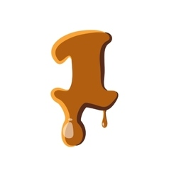 Number 1 from caramel icon vector image