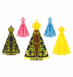 Our lady aparecida set with different colors vector