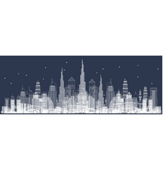 Outline dubai skyline with city skyscrapers front vector