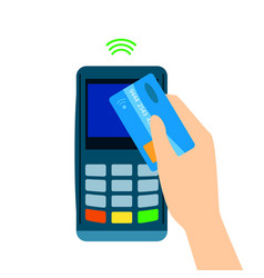 pos terminal confirms the payment made through vector image
