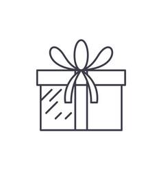 present box line icon concept present box vector image