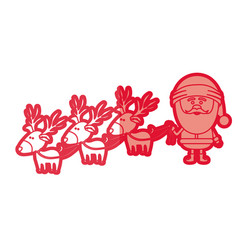 Red silhouette caricatures of three reindeers and vector