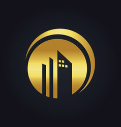 round building company gold logo vector image