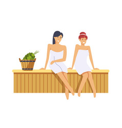 Sauna and spa procedures by women isolated vector